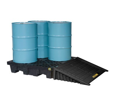 Justrite® 4 Drum EcoPolyBlend Spill Control Pallet (Squared), No Drain