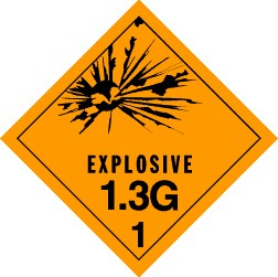 Explosives 1.3G Placard, Package of 25