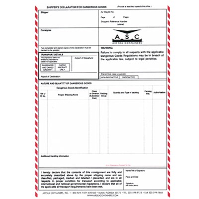 Shipper's Declaration Form for Dangerous Goods by AIR, 4-part carbon-less with columns.