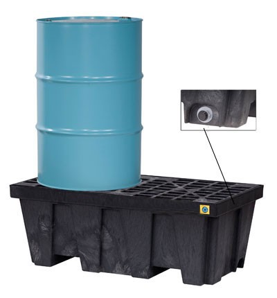 2 Drum EcoPolyBlend Spill Control Pallet, With Drain
