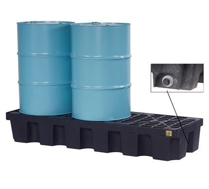 Justrite® 3 Drum EcoPolyBlend Spill Control Pallet, With Drain