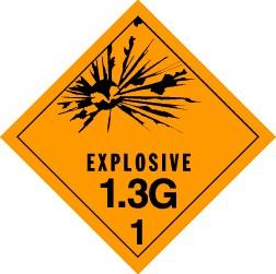 Explosives 1.3G Placard