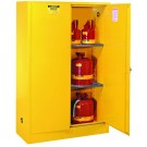 ULC Listed Flammable Safety Cabinet for Canada, Cap. 45 gals, 2 shlvs, 2 manual-close doors, Yellow.