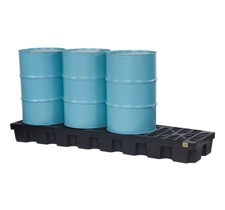 Justrite® 4 Drum EcoPolyBlend Spill Control Pallet (In-Line), No Drain