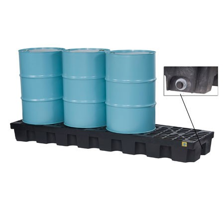 Justrite® 4 Drum EcoPolyBlend Spill Control Pallet (In-Line), With Drain