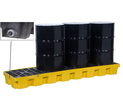 Justrite® 4 Drum EcoPolyBlend Spill Control Pallet (In-Line), With Drain, Yellow