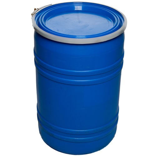 55 Gallon Reconditioned Open Head UN Rated Poly Drum with Ring Lock Lid