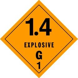 Explosives 1.4G Placard, Package of 25
