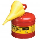 2 Gallon Justrite (7.5L) Steel Compliant Safety Type 1 Can for Flammables w/ Funnel