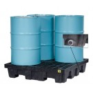 4 Drum EcoPolyBlend Spill Control Pallet (Squared), With Drain