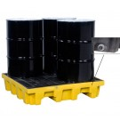 Justrite® 4 Drum EcoPolyBlend Spill Control Pallet (Squared), With Drain, Yellow