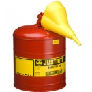 5 Gallon Justrite (19L) Steel Compliant Safety Type 1 Can for Flammables w/ Funnel