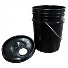 5 Gallon HDPE UN Certified Pail with Snap-On Lid - Black